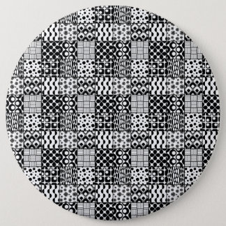 Grid of Black-and-White Geometric Patterns, 01 6 Inch Round Button