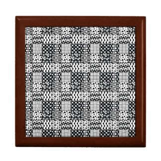 Grid of Black-and-White Geometric Patterns, 01 Gift Box