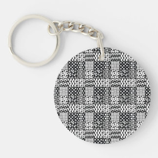 Grid of Black-and-White Geometric Patterns, 01 Keychain