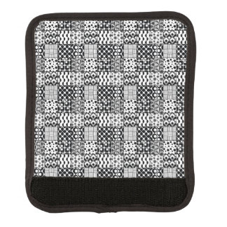 Grid of Black-and-White Geometric Patterns, 01 Luggage Handle Wrap