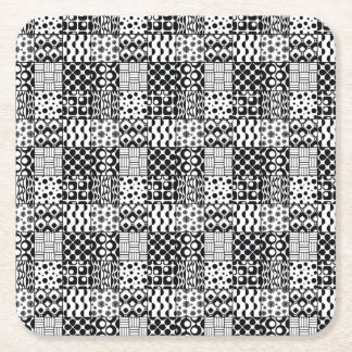 Grid of Black-and-White Geometric Patterns, 01 Square Paper Coaster