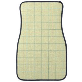grid pattern blue line red dots car mat