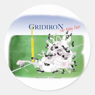 Gridiron -'hail mary pass', tony fernandes classic round sticker