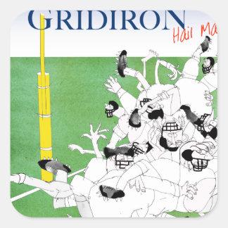 Gridiron -'hail mary pass', tony fernandes square sticker