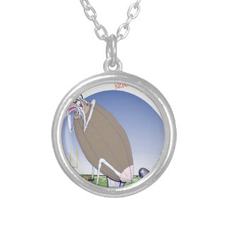 Gridiron kicked in the grass, tony fernandes silver plated necklace