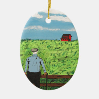 Griff and the Red Barn Ceramic Ornament