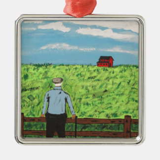 Griff and the Red Barn Metal Ornament