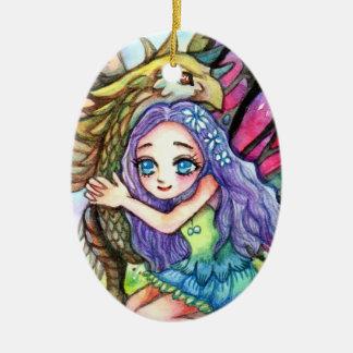 Griffin and Fairy Ceramic Ornament
