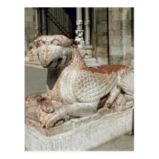 Griffin lying on a plinth, mid 13th century postcard