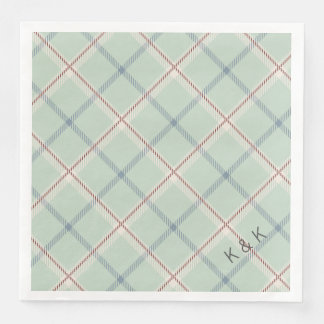 Griffith Family Tartan Plaid Check in Sage Green Paper Napkin
