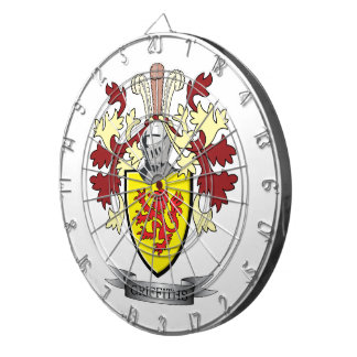Griffiths Family Crest Coat of Arms Dartboard