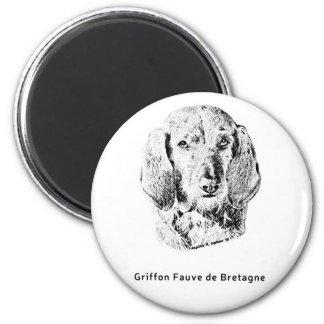 Griffon Fauve de Bretagne Drawing 2 Inch Round Magnet