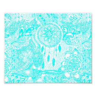 Griffonnages floraux de dreamcatcher de turquoise photos