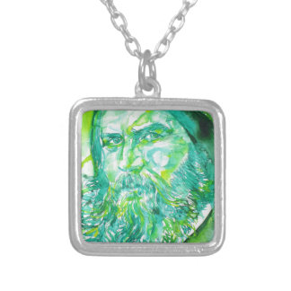 grigori rasputin - watercolor portrait.5 silver plated necklace
