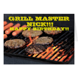 Grill Master COOK OUT Birthday Card