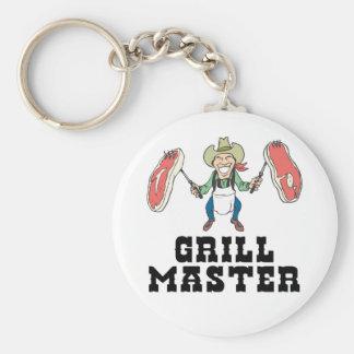 Grill Master Cowboy Basic Round Button Keychain