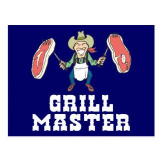 Grill Master Cowboy Postcard