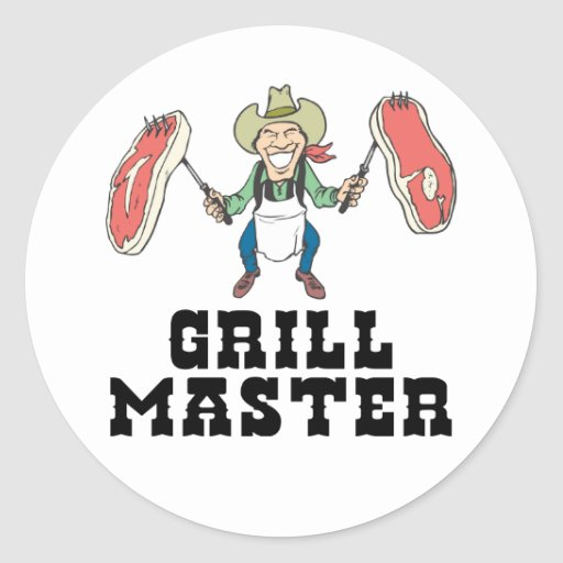 Grill Master Cowboy Stickers