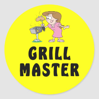 Grill Master Female Round Sticker