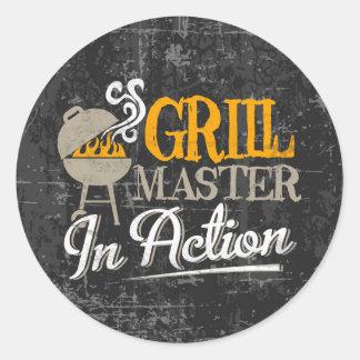 Grill Master In Action Round Sticker