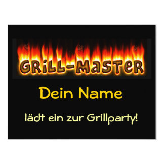 """Grill master (your name) loads to the grill party 4.25"""" x 5.5"""" invitation card"""
