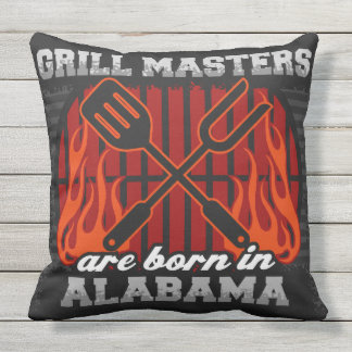 Grill Masters Are Born In Alabama Throw Pillow
