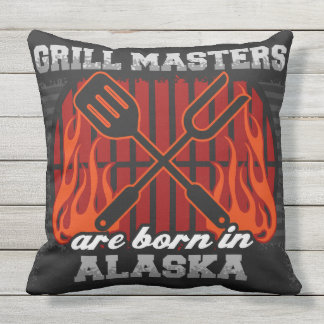 Grill Masters Are Born In Alaska Throw Pillow