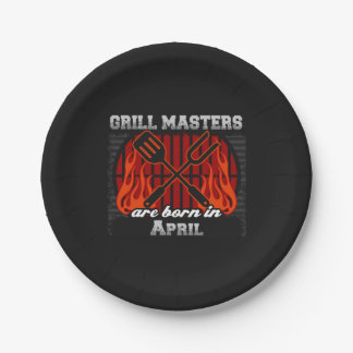 Grill Masters Are Born In April BBQ Birthday 7 Inch Paper Plate