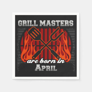 Grill Masters Are Born In April BBQ Birthday Napkin