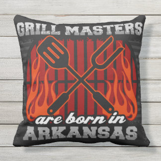Grill Masters Are Born In Arkansas Throw Pillow