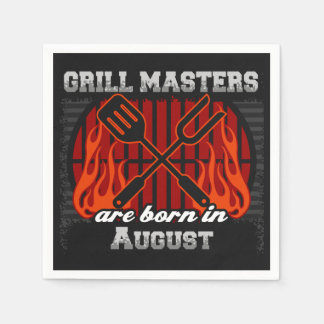 Grill Masters Are Born In August BBQ Birthday Napkin