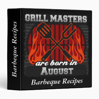Grill Masters Are Born In August Personalized 3 Ring Binder