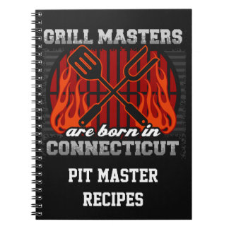 Grill Masters Are Born In Connecticut Personalized Spiral Note Book