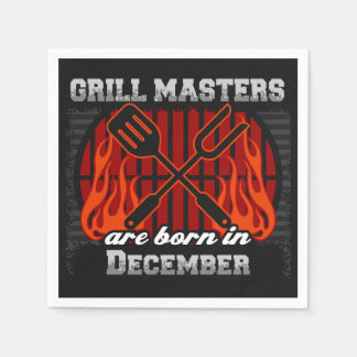 Grill Masters Are Born In December BBQ Birthday Paper Napkin