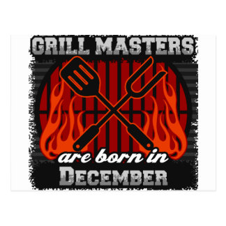 Grill Masters Are Born In December BBQ Birthday Postcard