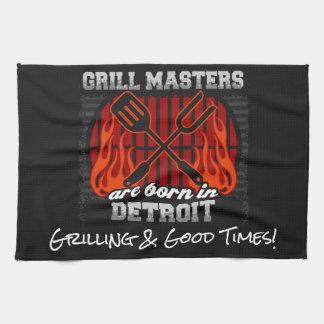 Grill Masters Are Born In Detroit Michigan Slogans Kitchen Towel