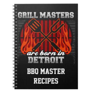 Grill Masters Are Born In Detroit Michigan Spiral Note Books