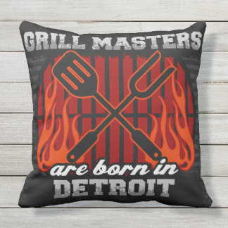 Grill Masters Are Born In Detroit Outdoor Pillow