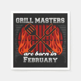 Grill Masters Are Born In February BBQ Birthday Napkin