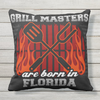 Grill Masters Are Born In Florida Outdoor Pillow