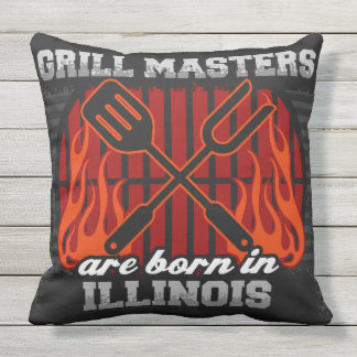 Grill Masters Are Born In Illinois Outdoor Pillow