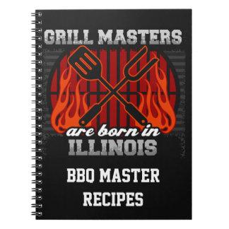 Grill Masters Are Born In Illinois Personalized Spiral Note Books
