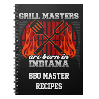 Grill Masters Are Born In Indiana Personalized Spiral Notebook