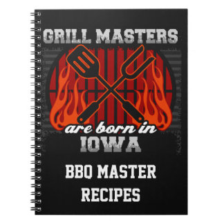 Grill Masters Are Born In Iowa Personalized Notebooks
