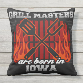 Grill Masters Are Born In Iowa Throw Pillow