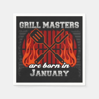 Grill Masters Are Born In January BBQ Birthday Paper Napkin