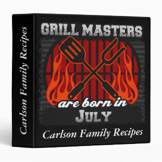 Grill Masters Are Born In July Personalized Vinyl Binder