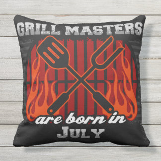 Grill Masters Are Born In July Throw Pillow