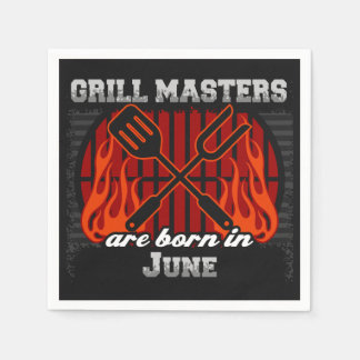 Grill Masters Are Born In June BBQ Birthday Paper Napkin