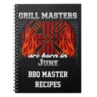 Grill Masters Are Born In June Personalized Note Books